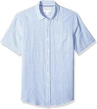 Amazon Essentials Slim-fit Short-Sleeve Linen Shirt Button-Down-Shirts Hombre