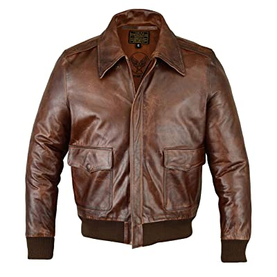 FiveStar Leathers Men's Air Force A-2 Leather Flight Bomber Jacket at Men's Clothing store