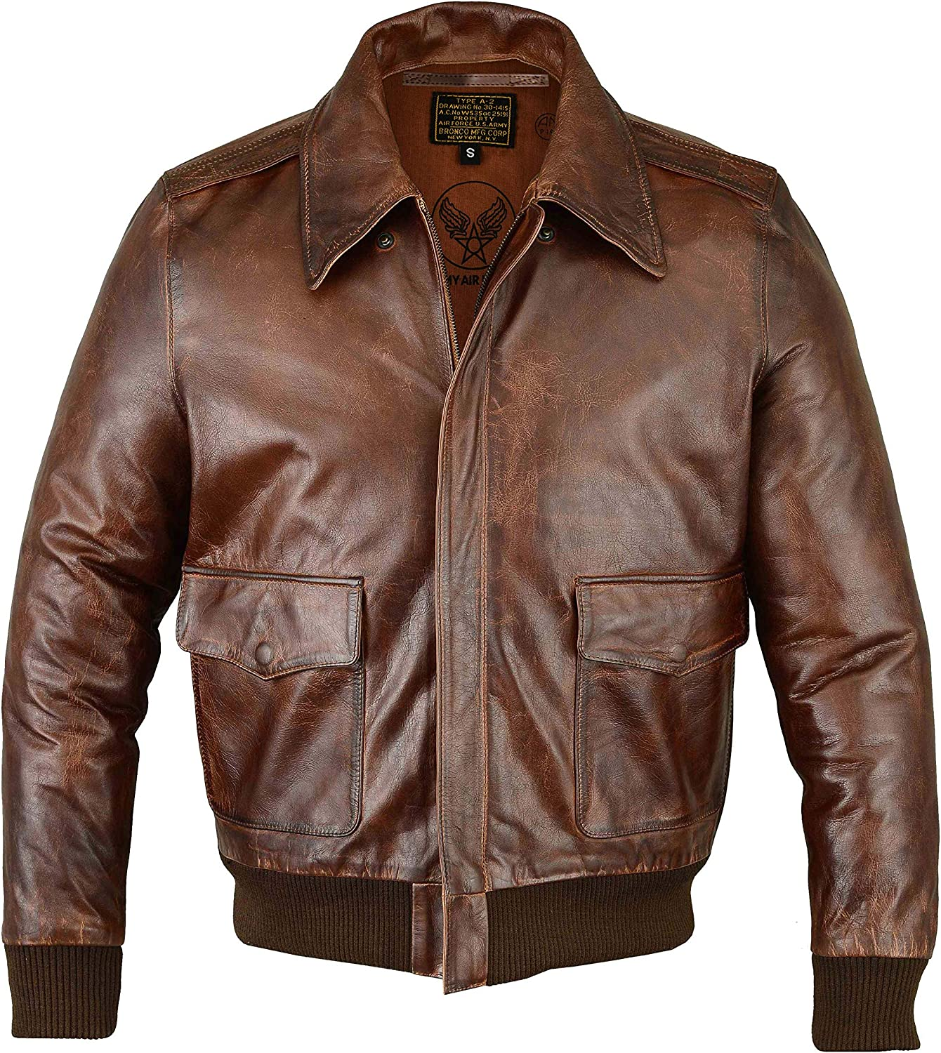 60s 70s Men's Jackets & Sweaters FiveStar Leathers Mens Air Force A-2 Leather Flight Bomber Jacket $149.50 AT vintagedancer.com
