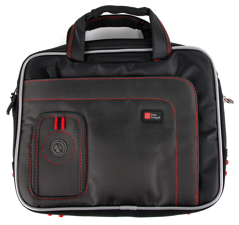 DURAGADGETブラックと赤パッド入りラップトップバッグ/ケース、Dell Latitude 11 5175 & 11 5179 – with Removable Shoulder Strap   B01I045KTS