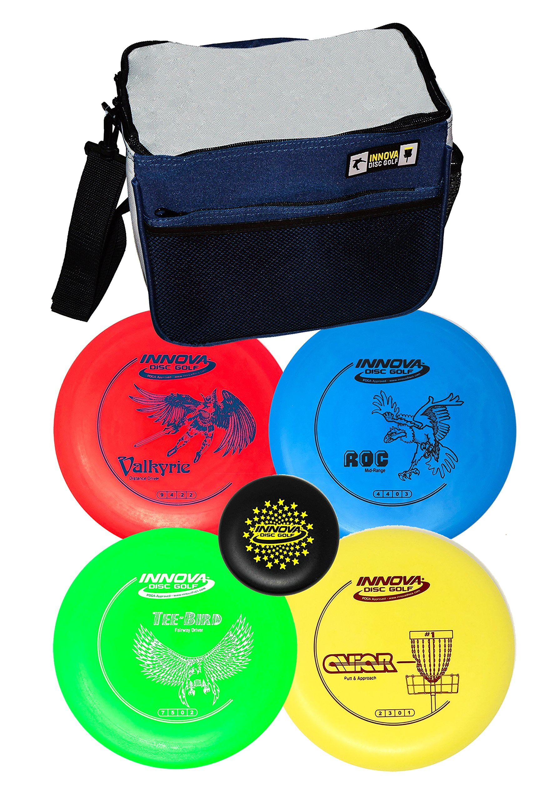 Innova Disc Golf Set with 4 Discs Starter Disc Golf Bag - DX Distance Driver, Fairway Driver, Mid-Range, Putter and Mini Marker Disc by INNOVA