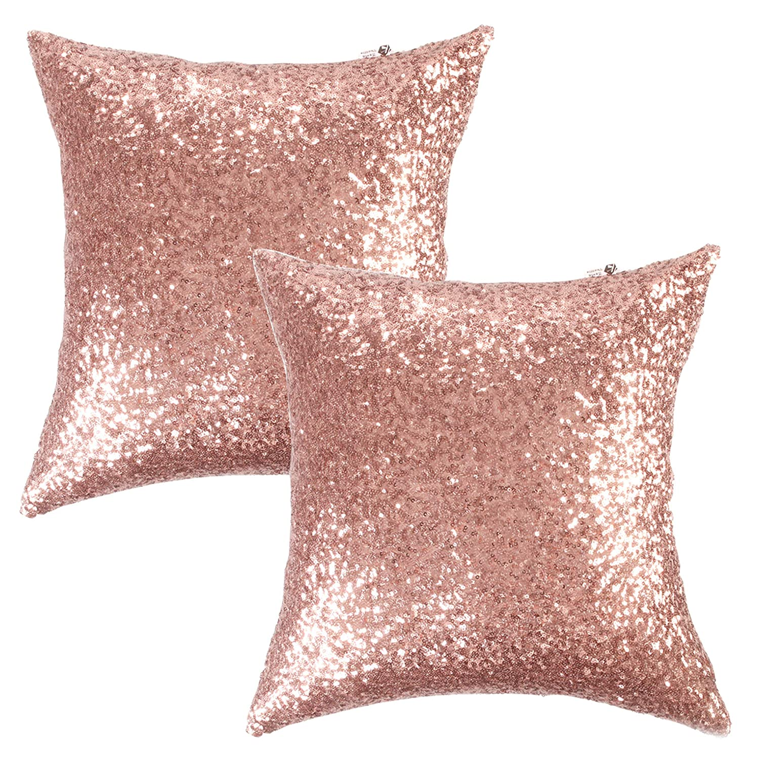 """Kevin Textile Sequins Decorative Luxurious Home Party Square Pillow Case Cushion Cover, 18""""x18"""", Hidden Zipper Design, 2 Cover Packs(Rosegold)"""