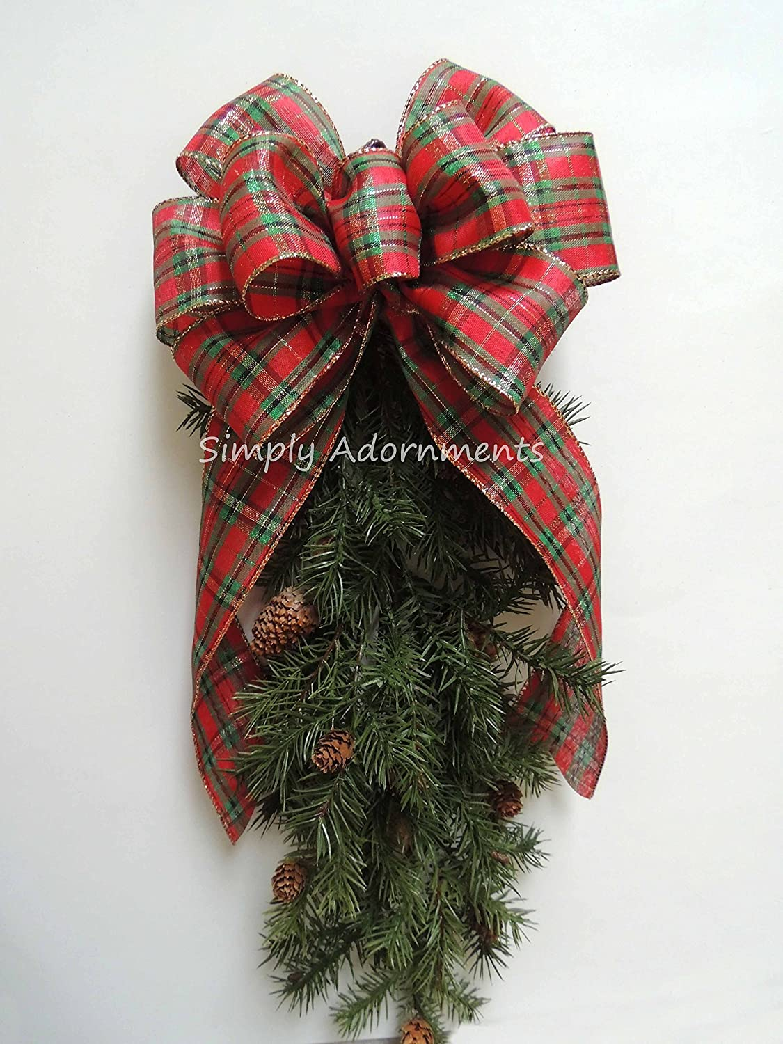 Mettalic Gold Red Green Holiday Plaid Bow Red Scotch Plaid Christmas Wreath Bow Red Green Gold Tartan Monogram Christmas Bow Country Plaid Wedding Bow Chistmas Plaid Topper Bow