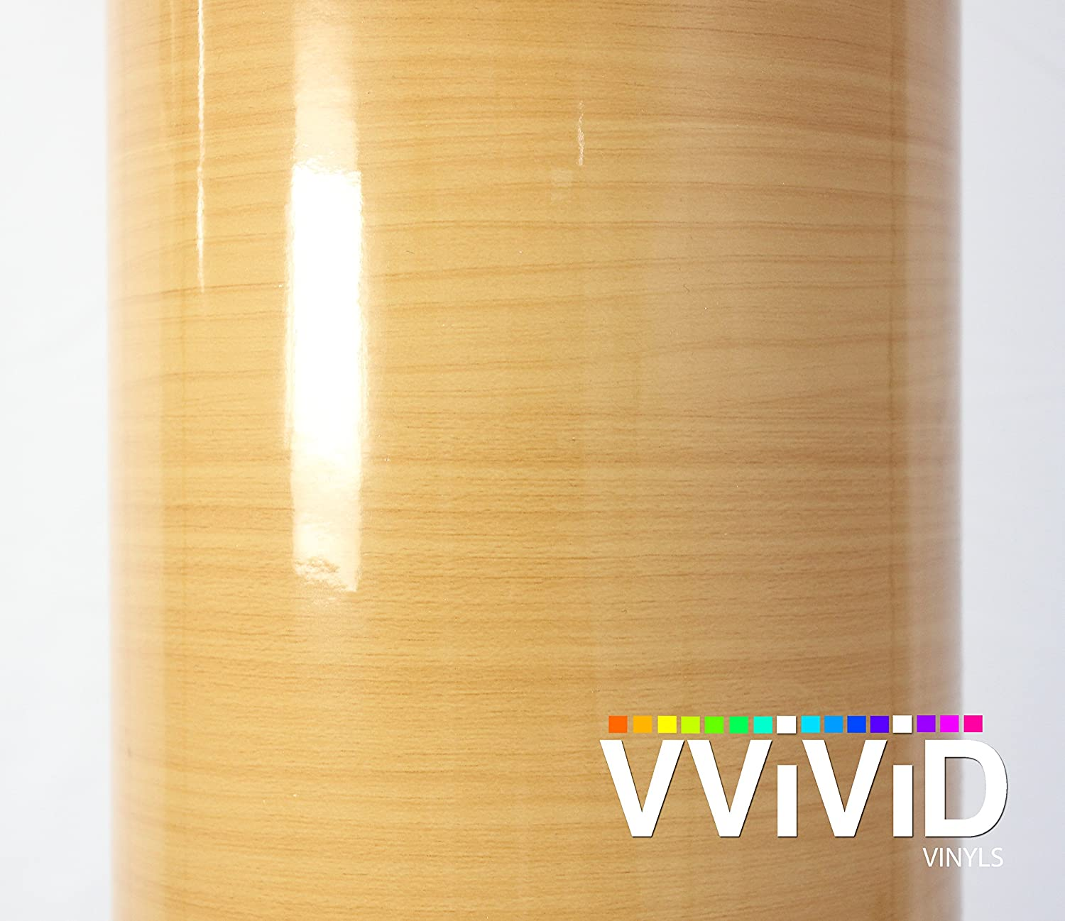 VViViD Golden Pine High Gloss Wood Grain Faux Finish Textured Vinyl Wrap Film for Home Office Furniture DIY Easy to Install No Mess 17.75 Inches x 48 Inches