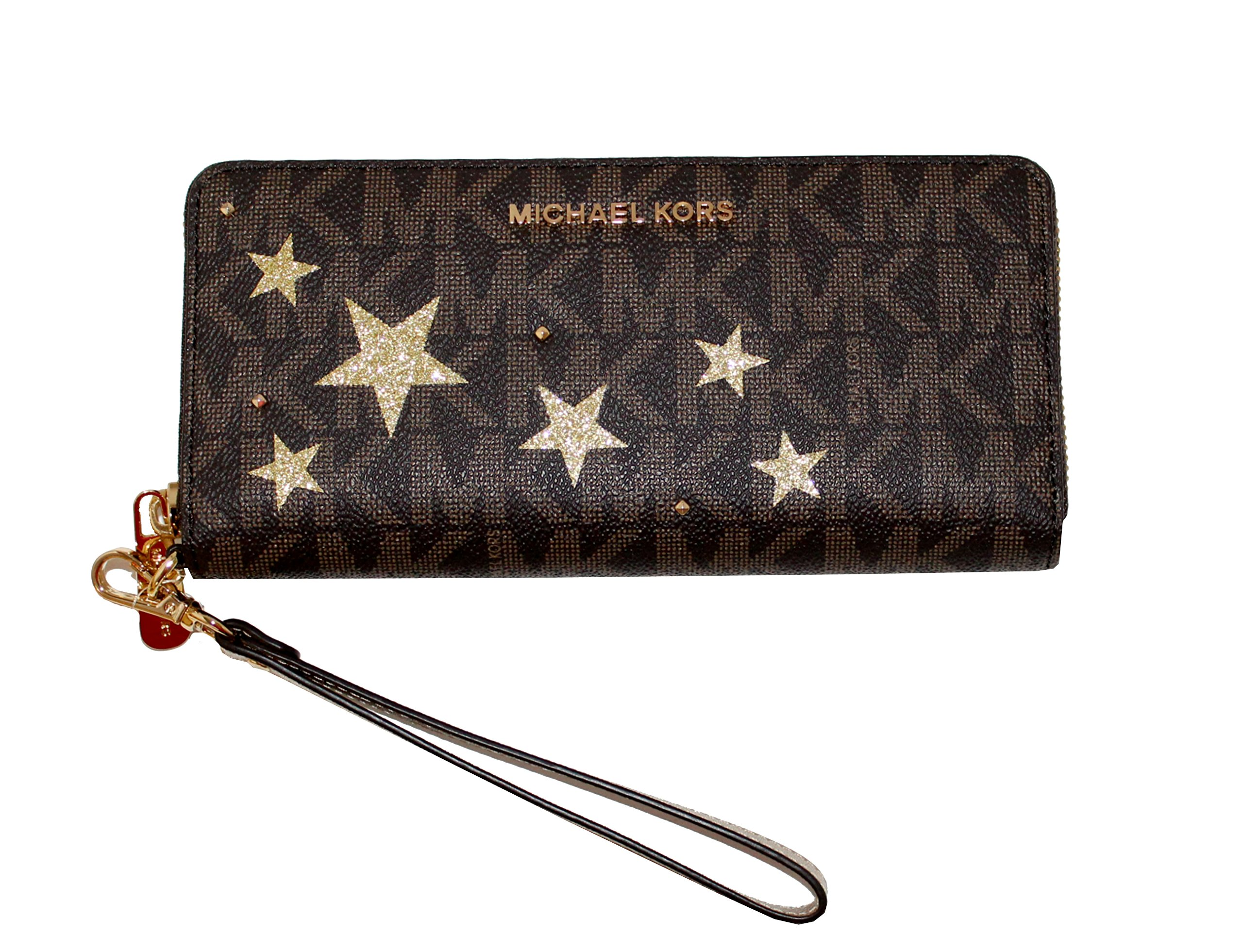 MICHAEL Michael Kors Signature Jet Set Travel Continental Wallet Brown/Gold by Michael Kors