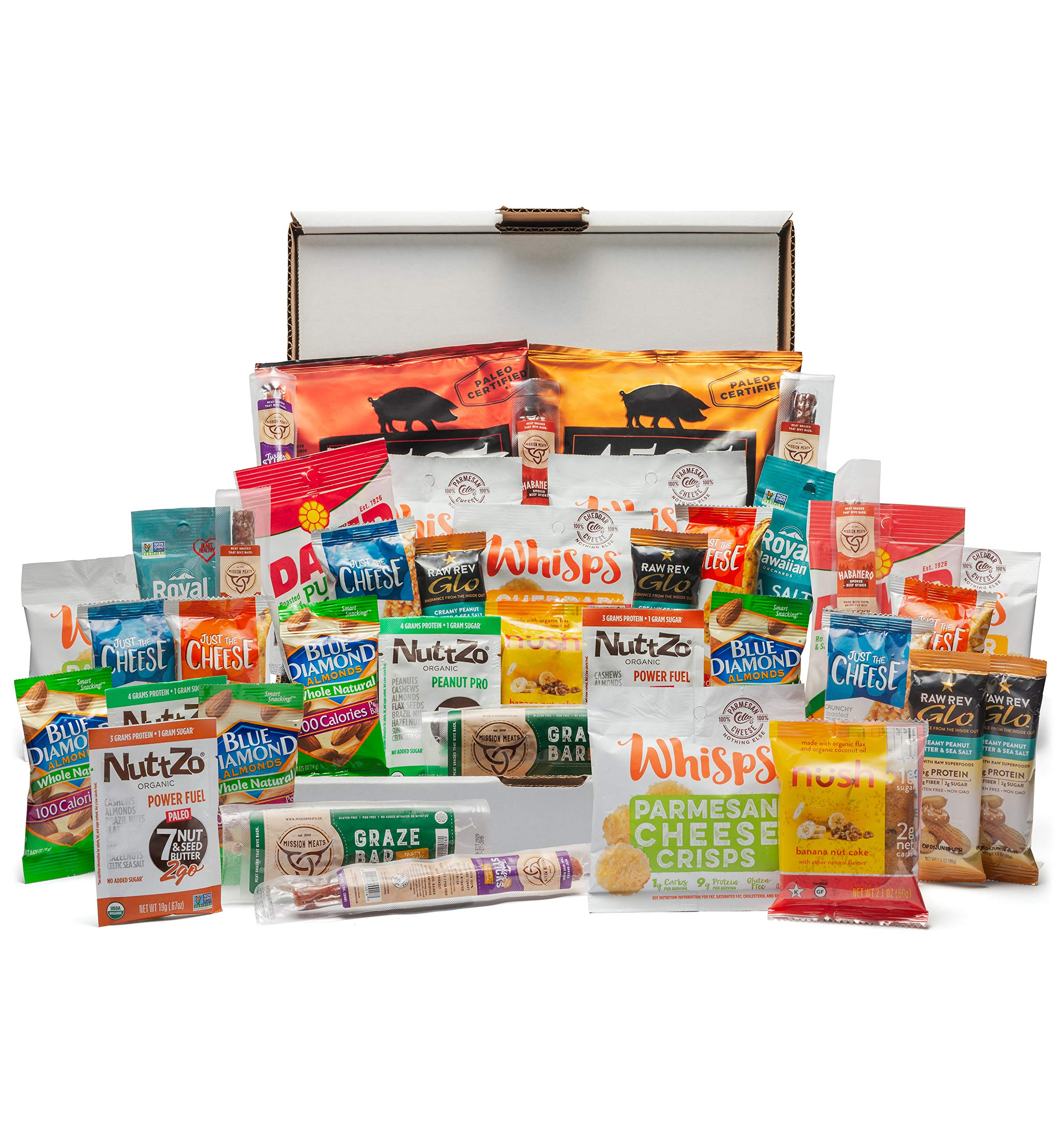 Keto Snack Box (40 Count)-Ultra Low Carb Snacks-Ketogenic Friendly, Gluten Free, Low Sugar Healthy Keto Gift Box Variety Pack - Protein Bars, Pork Rinds, Cheese Crisps, Nut, Jerky, and More by Cedar Mountain Trade Co.