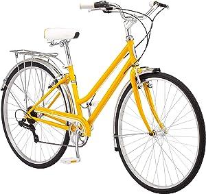 Schwinn Wayfarer Bike Mens and Womens Hybrid Retro-Styled Cruiser, Step-Over or Step-Through frame option, 7-Speed