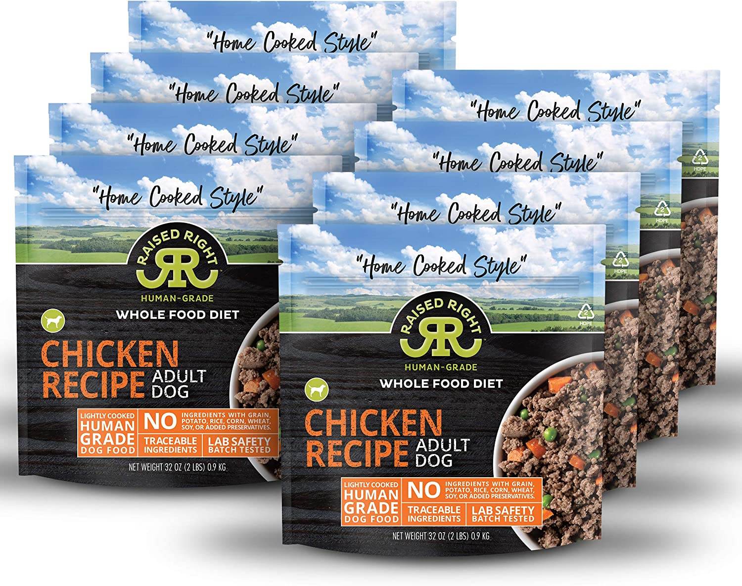 """Raised Right Human-Grade Frozen Dog Food, Low Carb """"Home Cooked Style"""" Whole Food Diet"""