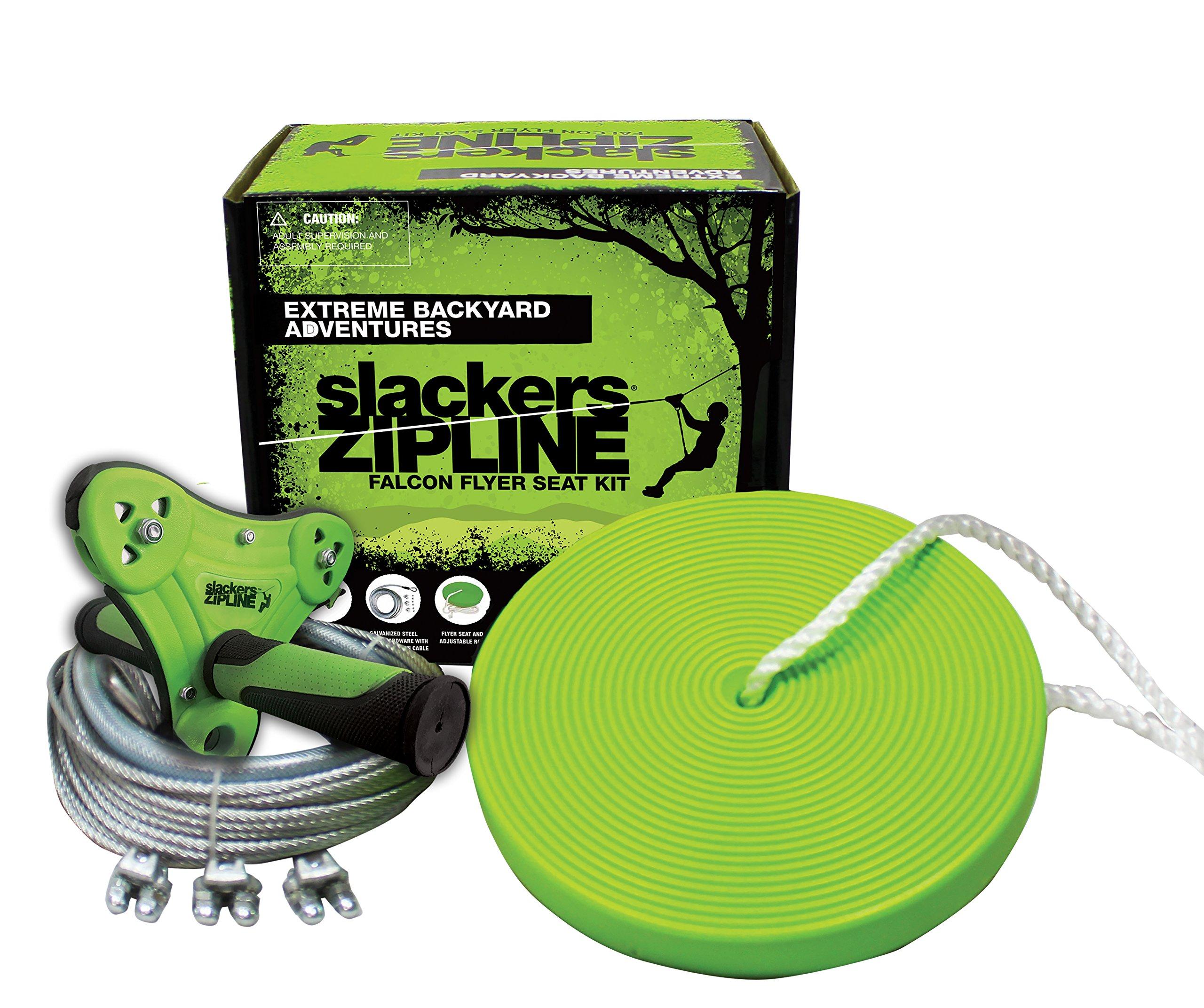Slackers Falcon Flyer Zipline Kit Backyard, Green, 40'