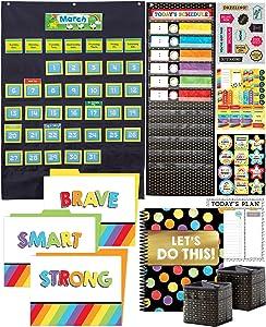 Carson Dellosa (CAS0P) Dellosa Homeschool Organizers and Storage Supplies, Pocket Chart, Teacher Planner, Notepad, Stickers, Desktop Organization (10pc) (145196)