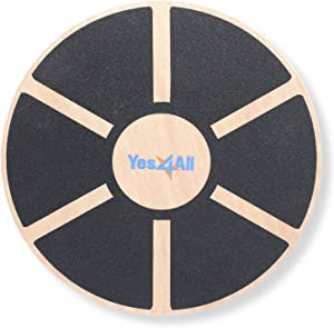 Yes4All Wooden Wobble Balance Board - Round Balance Board/ Stability Board for Physical Therapy, Home Gyms