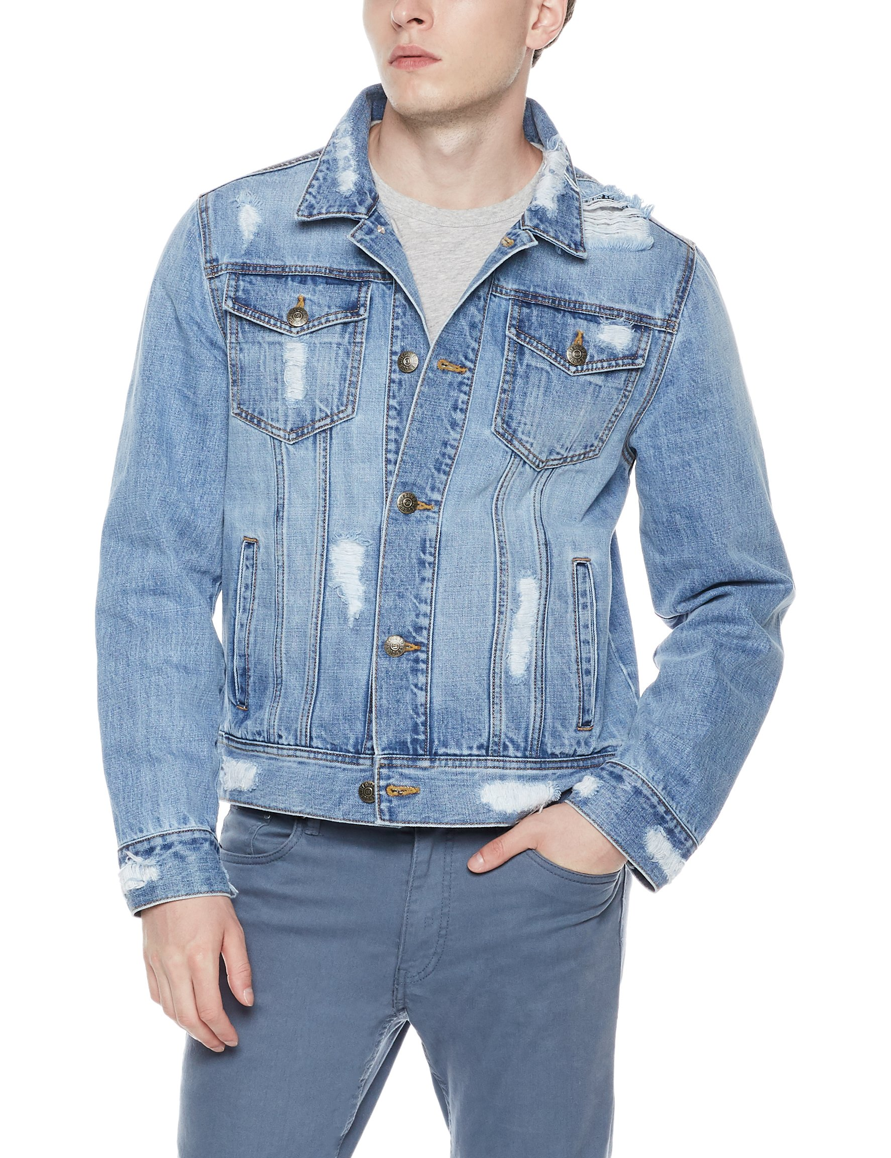 Quality Durables Co. Men's Regular-Fit Distressed Jean Jacket S
