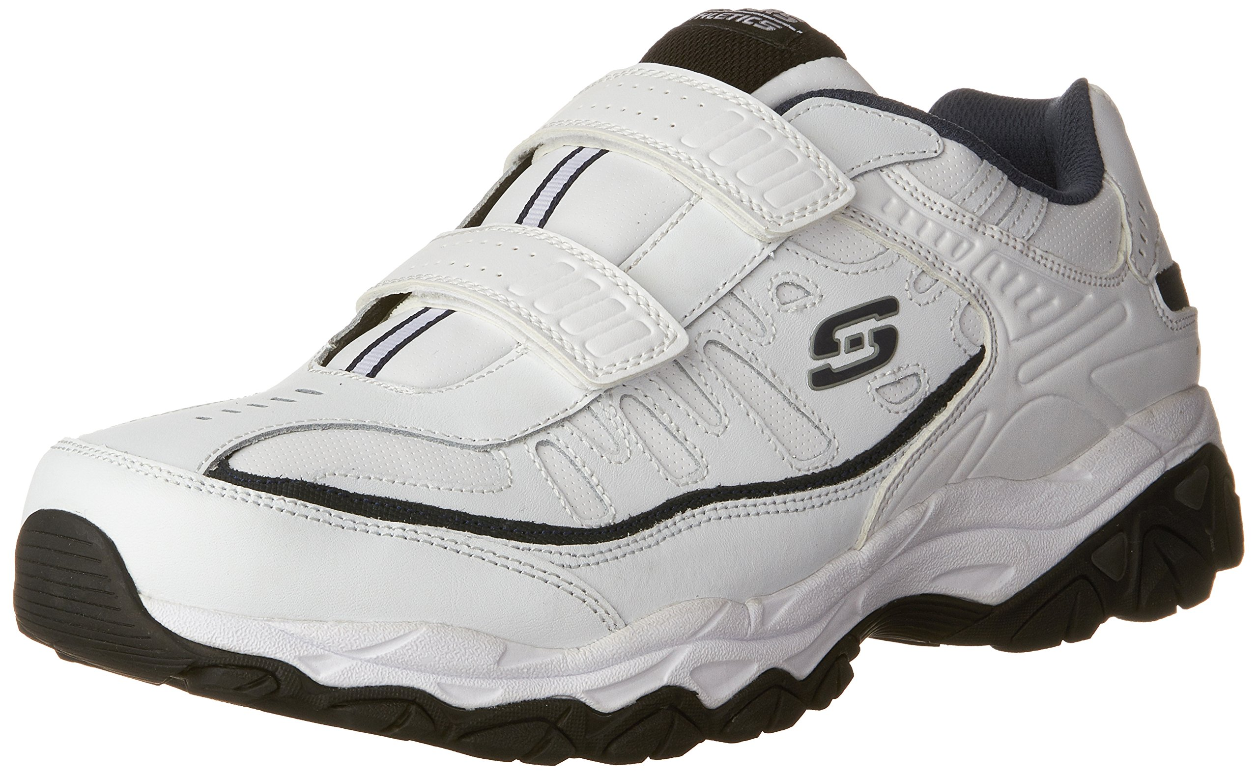 Skechers Men's AFTERBURN M.FIT- FIN Strike Memory Foam Velcro Sneaker, White/Navy, 11.5 4E US by Skechers