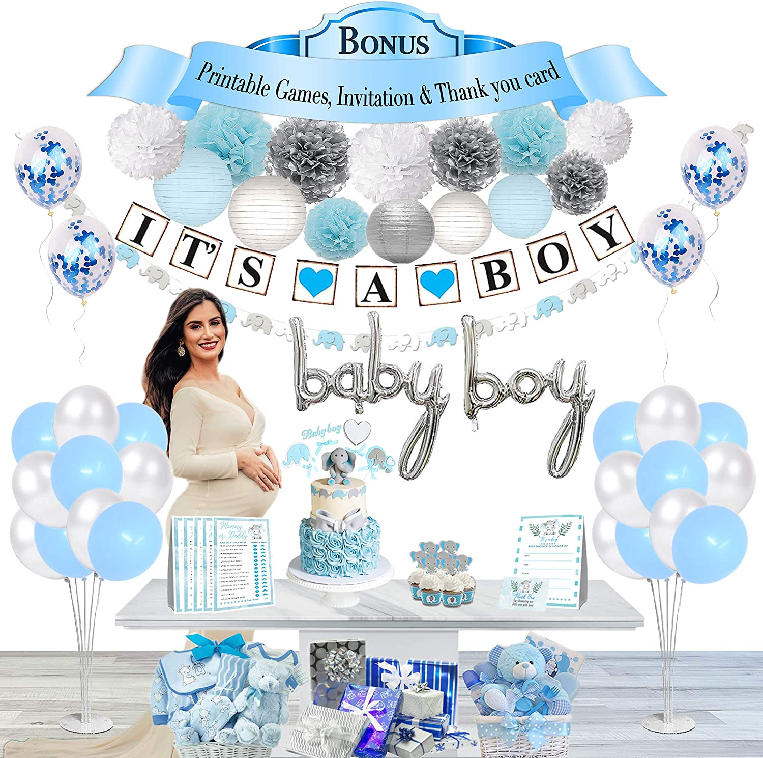 Blue Baby Shower Decorations for Boys, Banner Decor, Flower Pom Poms, Paper Lanterns, Cake Toppers, Elephant Garland, Latex and Foil Confetti Balloons, Air Pump + Printable Games, Thank you Card and Invitation Card