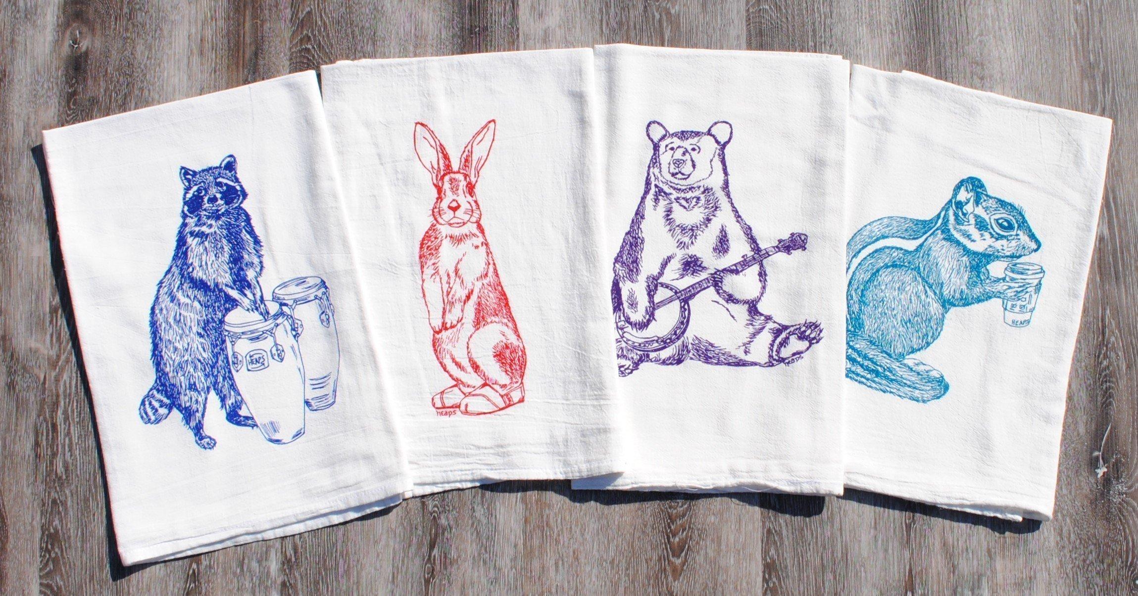 Kitchen Tea Towel Set of 4 - 100% Cotton Flour Sack - 26'' x 25'' - Forest Animals