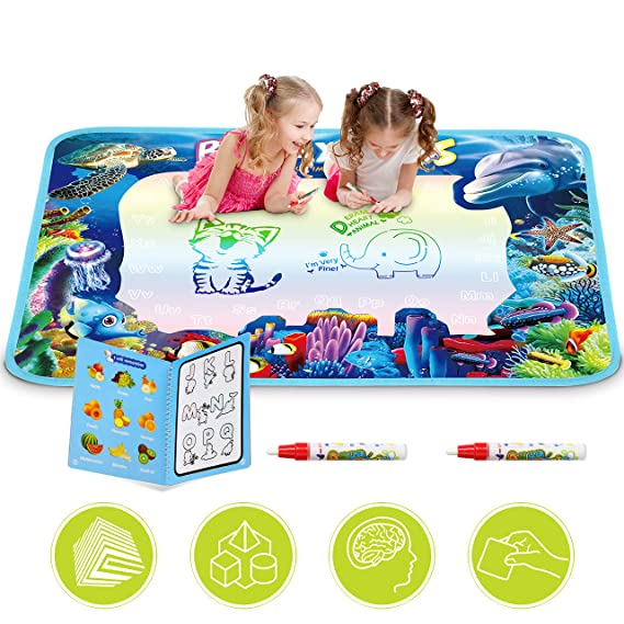 "Updated 2019 Version Larger AquaDoodle Drawing Mat for Kids, Aqua Doodle Pad Educational Toys Coloring Water Magic Mats Scribble Board Pad Painting Markers for Baby Toddler with Pens - 42"" X 28"""