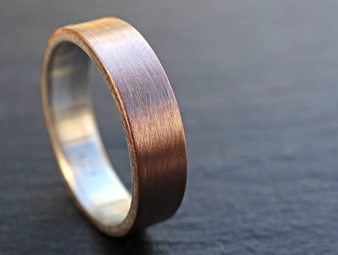 Gold Silver Wedding Ring Mens Band Two Tone Flat
