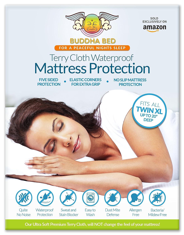 Protector de colchón doble XL. 100% waterproof- bloques sudor, manchas, orina. Protección de cama Bugs, ácaros y pulgas. Ultra soft-premium, 5 cara algodón ...