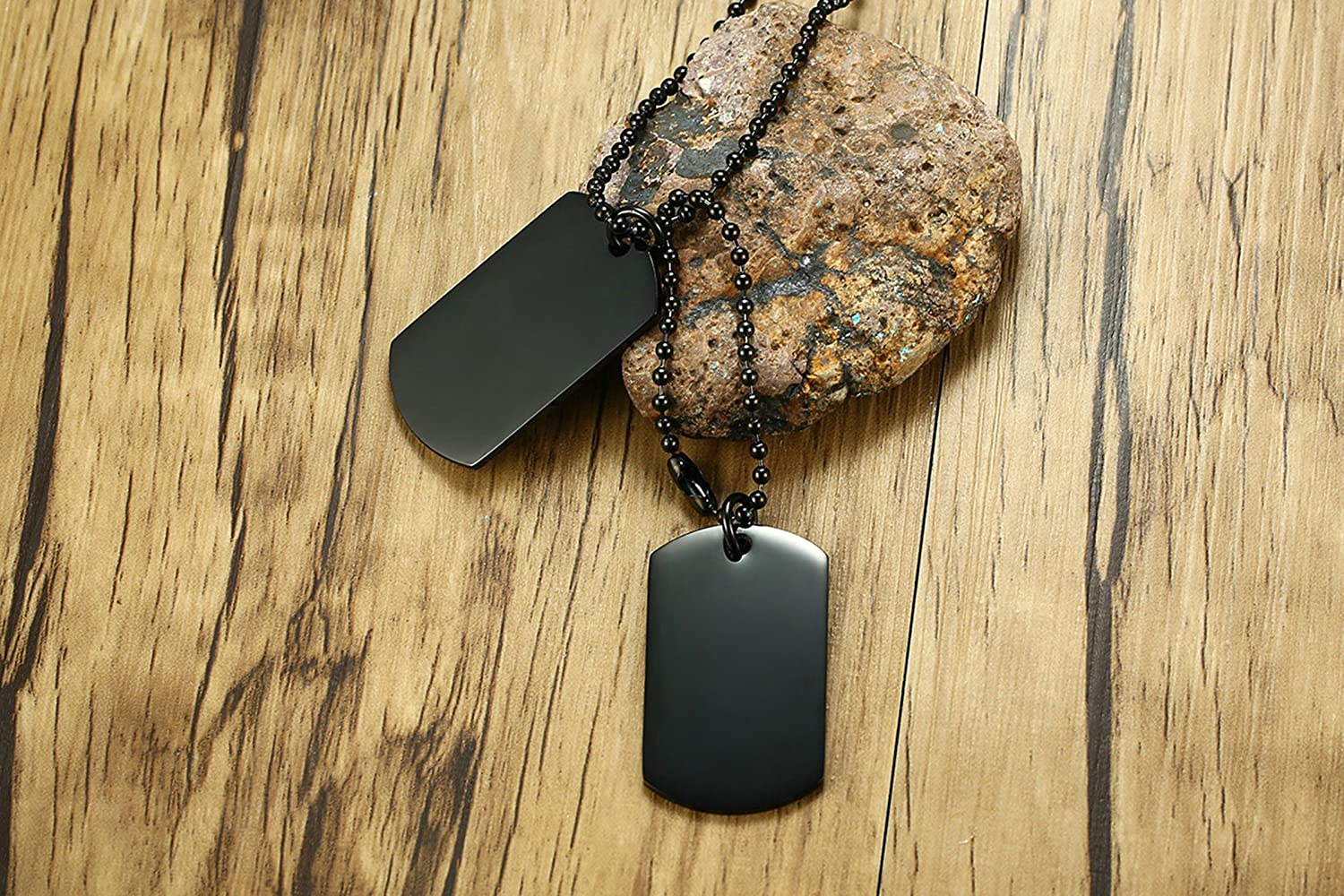 MoAndy Stainless Steel Jewelry Stainless Steel Necklace for Men Lettering Double Tag
