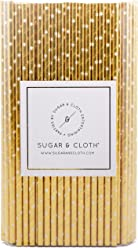 Sugar & Cloth Paper Straws, Gold Starburst, 125 Count