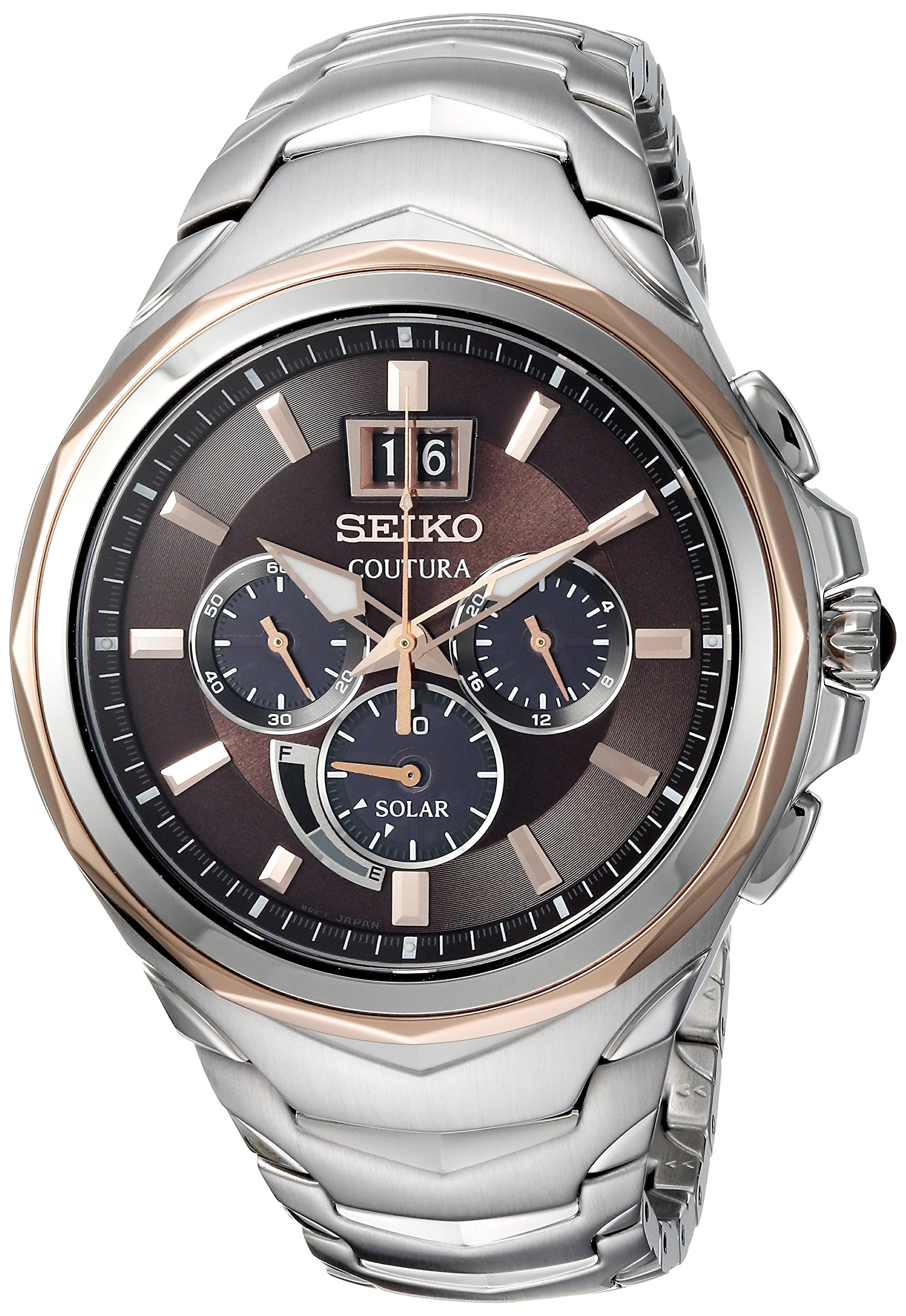 Seiko Men's 'COUTURA CHRONOGRAPH' Quartz Stainless Steel Casual Watch, Color:Two Tone (Model: SSC628)