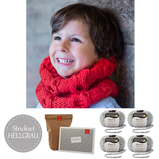 Kinderschal Stricken Strickpaket Diy Kinderloop Schneeengel