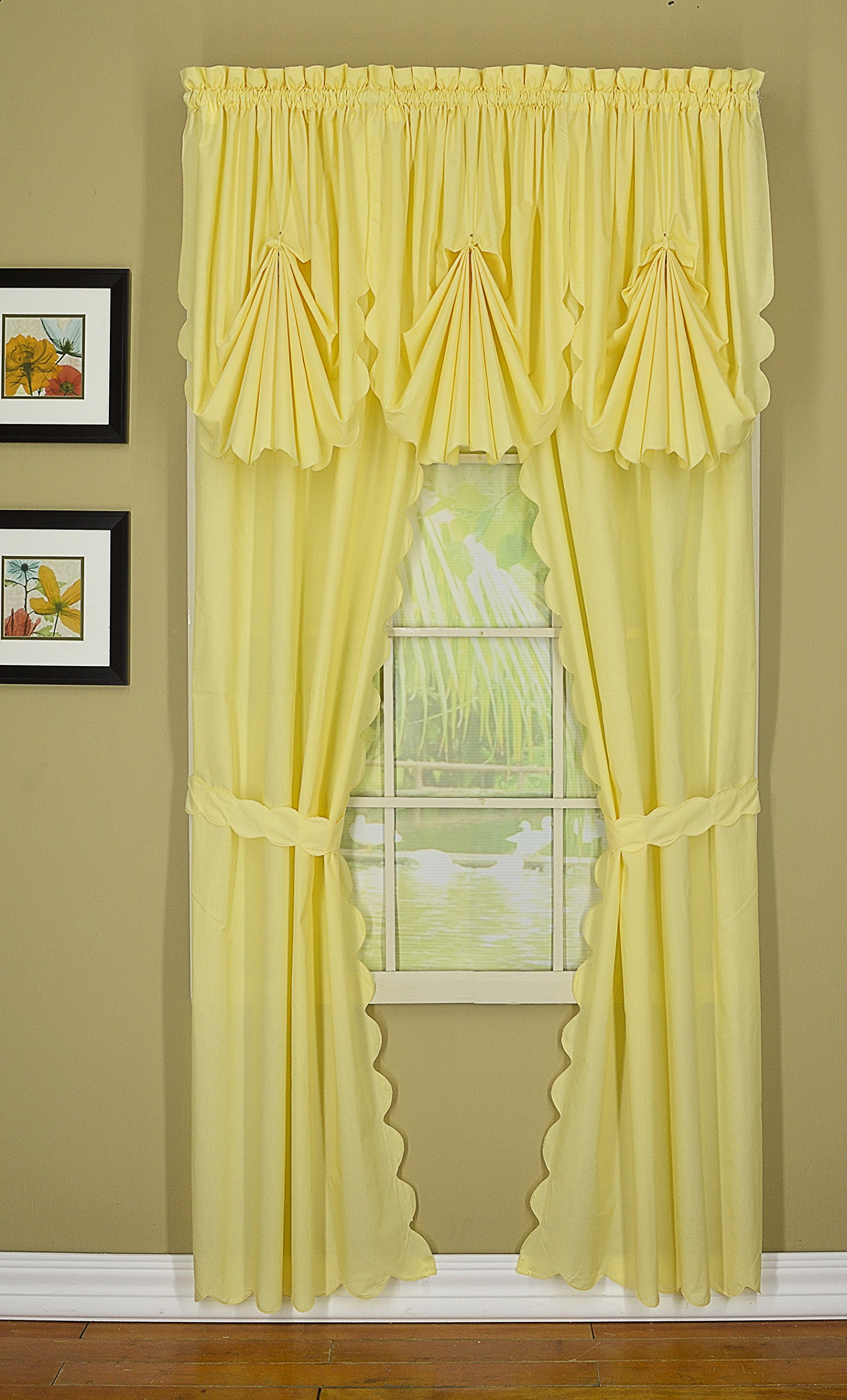 Today's Curtain CA2003K Orleans 72'' Panel Pair with Tiebacks Tambour Scallop Edge Curtain, Buttercup, 60'' W x 72'' L/TB