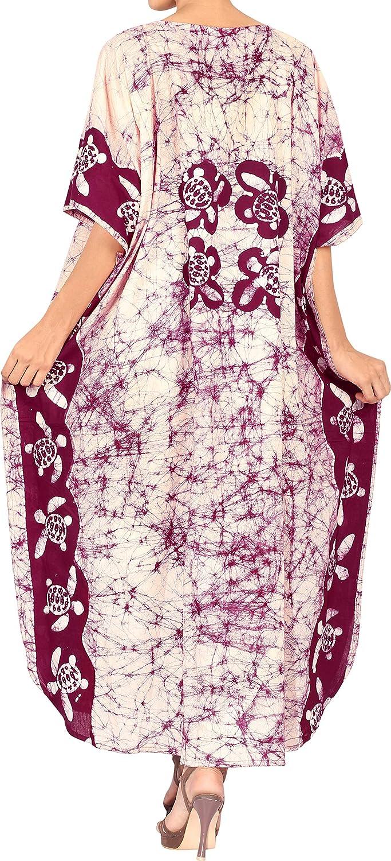 LA LEELA Boho Cotton Women Hand Batik Tunic Caftan Kimono Oversized Long Maxi Loungewear Holiday Nightwear Everyday Beach Cover UP Plus Size Kaftan LC