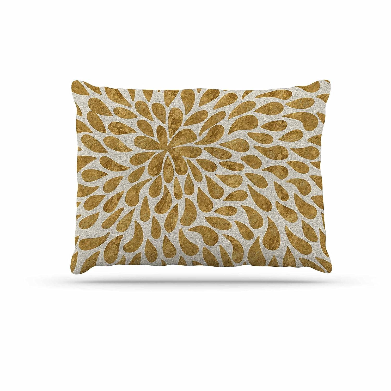 KESS InHouse 888 Design Abstract golden Flower gold Tan Dog Bed, 50  x 40