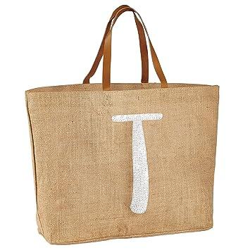 Amazon.com: Mud Pie 8613275T Sequin Initial T Jute Beach Bag Tote ...