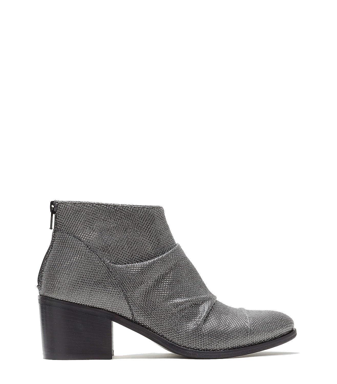 Poi Lei Damen-Schuhe Ankle Stiefel Paulina Silber Stiefeletten Blockabsatz Leder