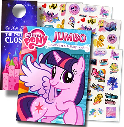 Amazon.com: My Little Pony Rarity Coloring Book And Stickers Super Set  Bundle Coloring Book Stickers & 2-Sided Specialty Door Hanger: Toys & Games