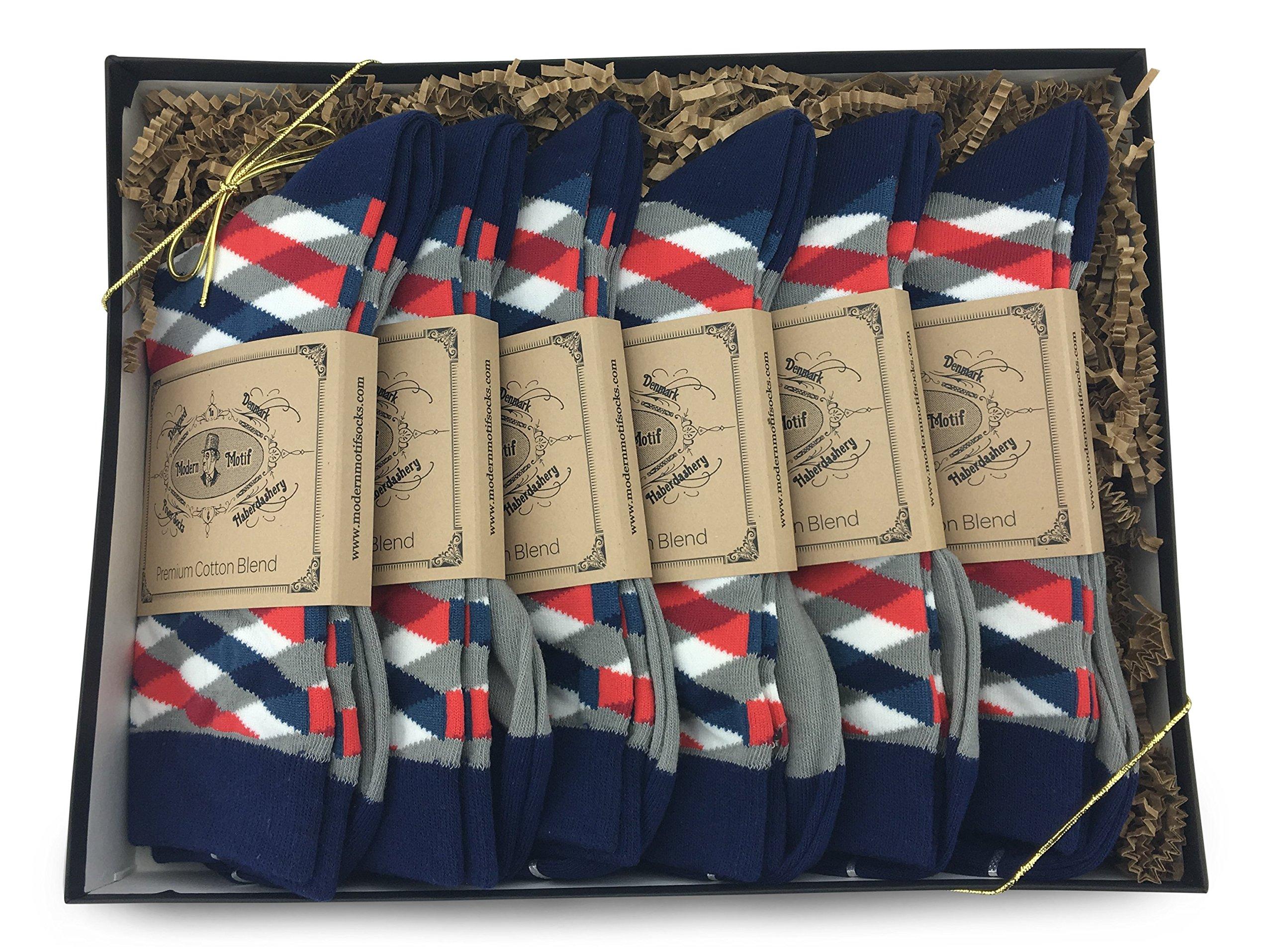 Modern Motif - 6 Pair Men's Matching Dress Socks Gift Box | Groomsmen Weddings Party Events