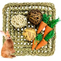 Hamiledyi Rabbit Activity Mat Bunny Chew Toy Small Animal Activity Play Ball Carrot Toy Seagrass Mat for Hamster Guinea…