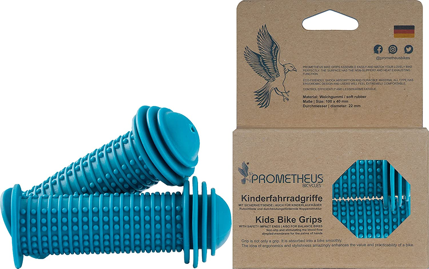 Prometheus Kids Bike Grips 1 Pair in Blue | with Safety BAR END Pads | Also for Balance Bike and Scooter | 22 mm Handlebar Grips | Child Safety Grip with Safety Impact Ends | Edition 2018 PROMETHEUS BICYCLES® 14TM300