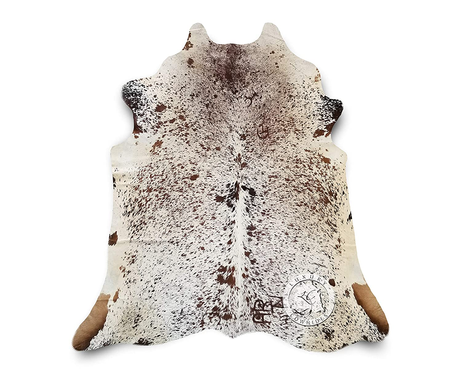 Brown and White Salt and Pepper Cowhide Rug Large 5ft x 7ft 150cm x 210cm Longhorn