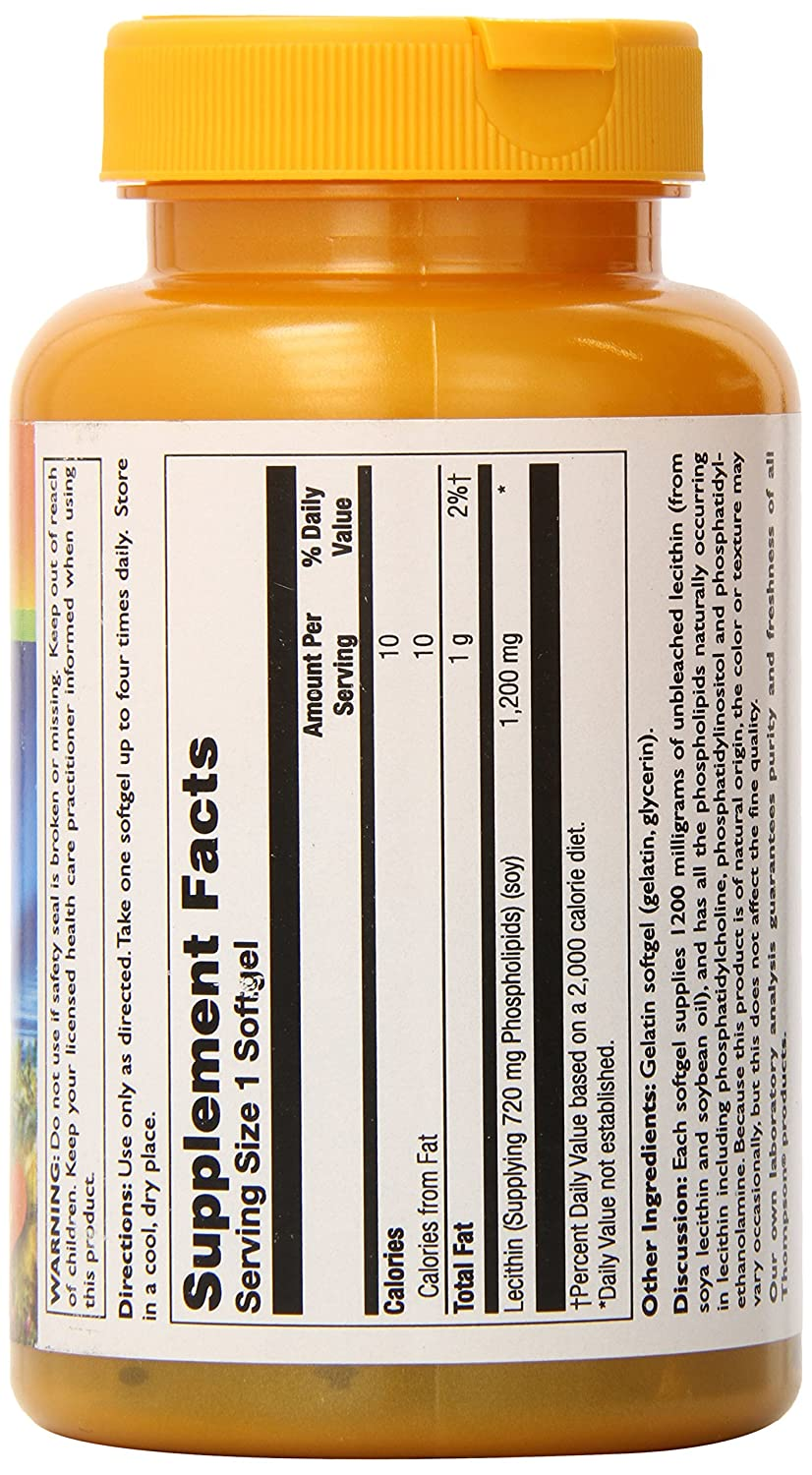 Amazon.com: Thompson Lecithin Softgels, 1200 Mg, 60 Count: Health & Personal Care