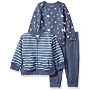 Hanes Ultimate Baby Flexy Jogger with Long Sleeve Bodysuit and Fleece Jacket, Dark Blue Stripe, 0-6 Months