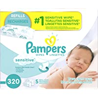 Pampers Sensitive Water Baby Wipes 5X Refill Packs, 320 Count