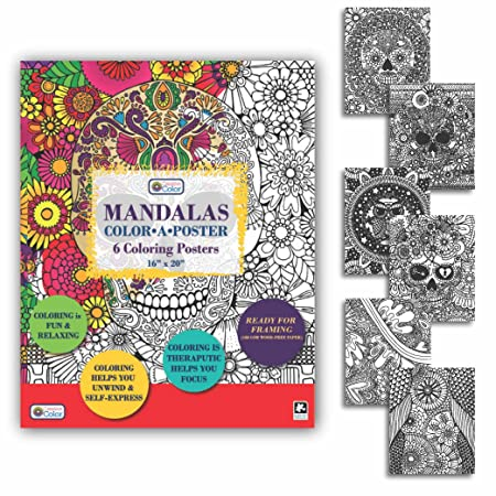 Amazon Adult Coloring Mandalas Color A Poster 16x20 18 Posters Included Toys Games