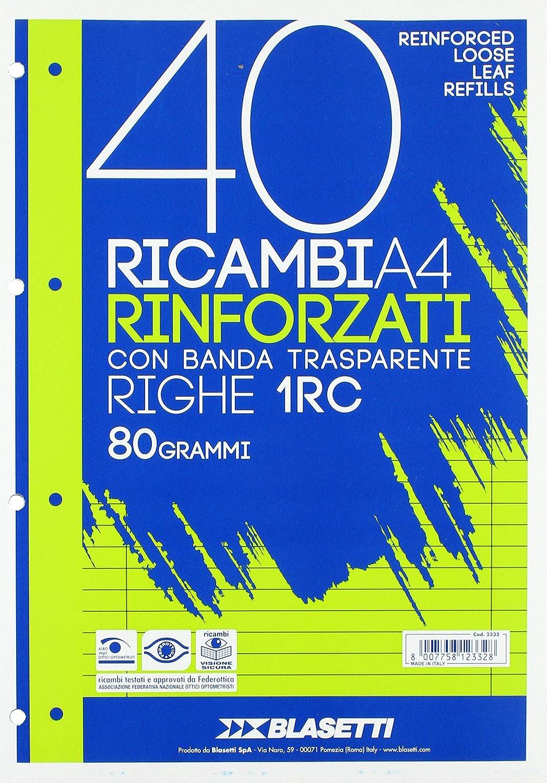 Confezione da 40 fogli A4 Blasetti 2332 40 Ricambi Rinforzati con banda transparente Rigatura 5M Righe 1RC 40 fogli da 80 gr /& Ricambi Rinforzati