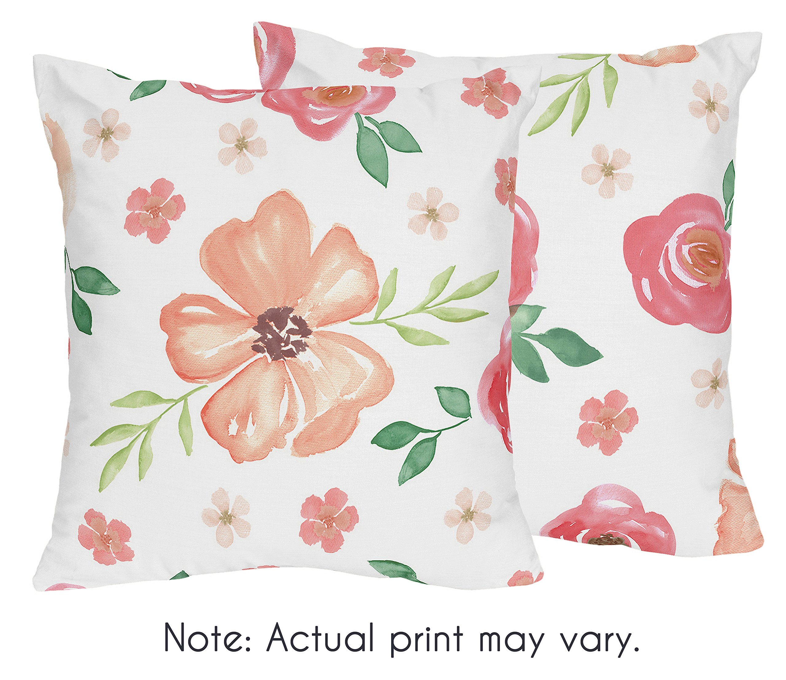 Sweet Jojo Designs Peach and Green Decorative Accent Throw Pillows for Watercolor Floral Collection - Set of 2 - Pink Rose Flower