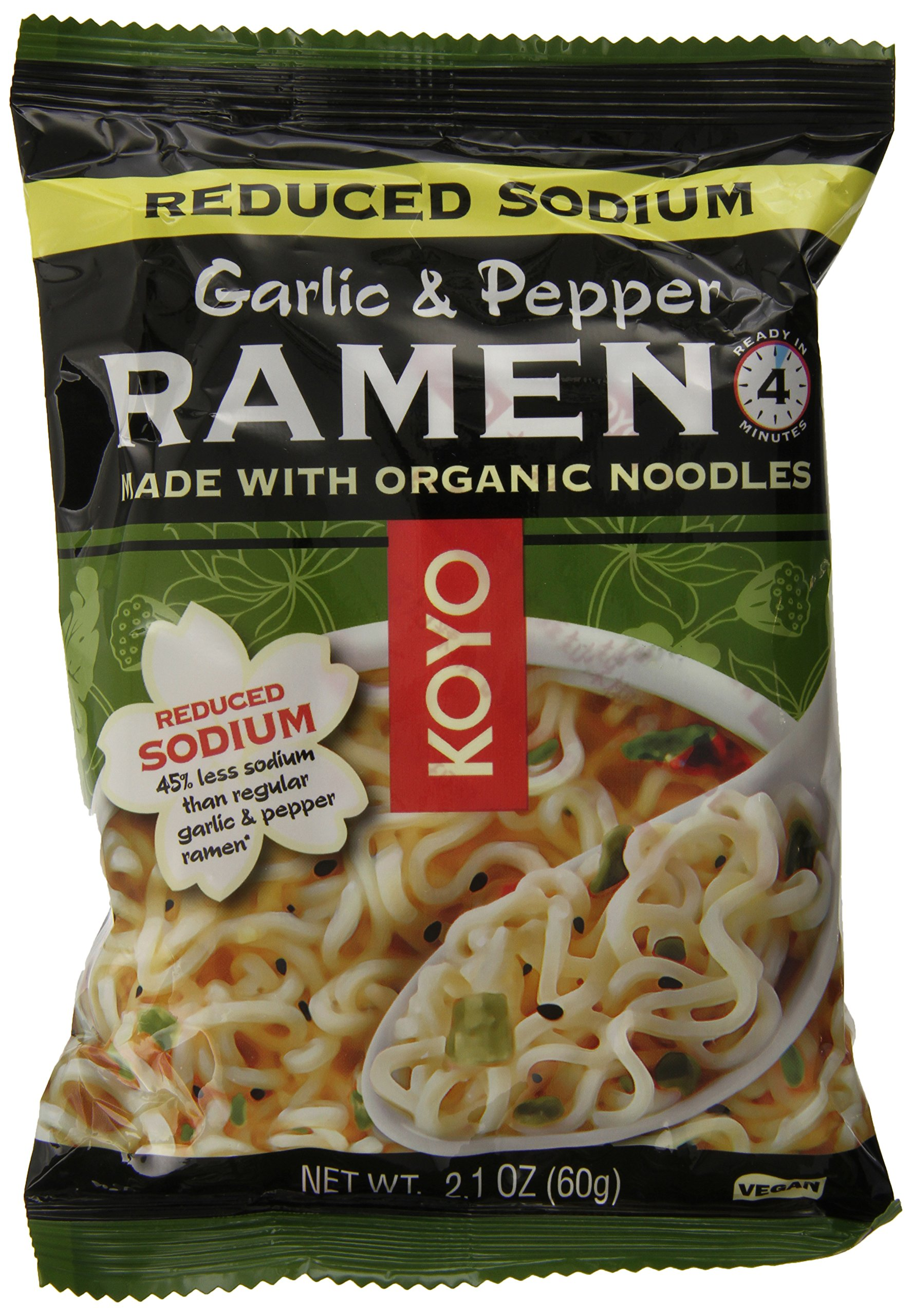KOYO Reduced Sodium Garlic and Pepper Ramen Made with Organic Noodles, 2.1 Ounce (Pack of 12) by Koyo (Image #1)