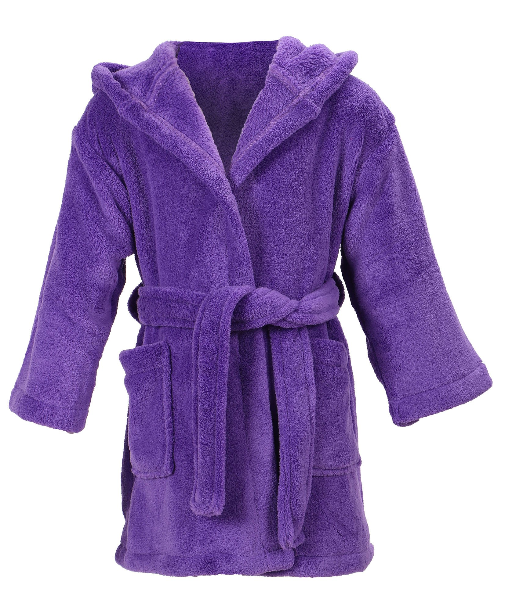 Children's Hooded Plush Velvet Outdoor Bath Robe with Pockets,Purple,M(4-6 Years)