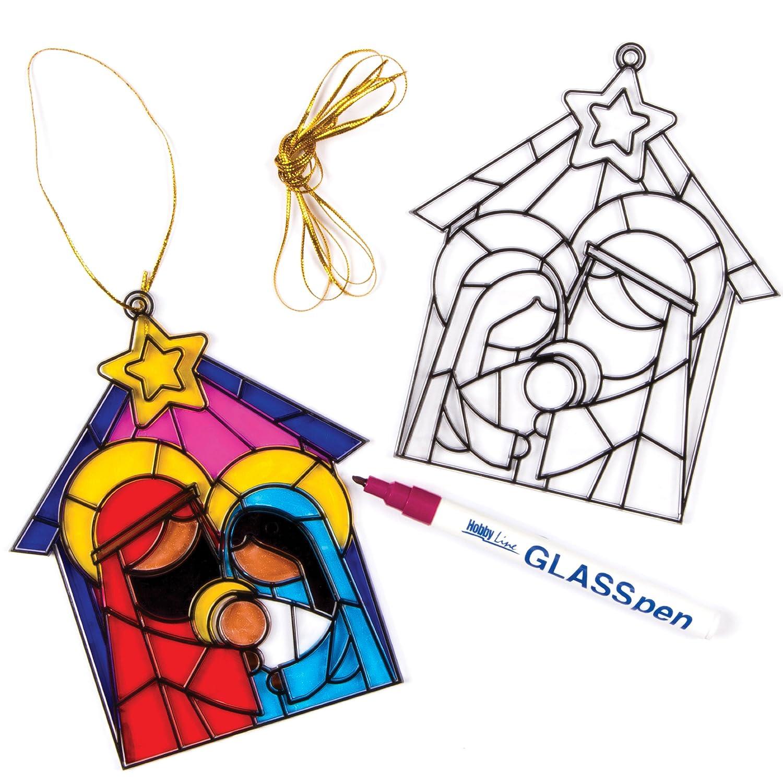 Baker Ross Lot de 4 vitraux motif de la Nativité