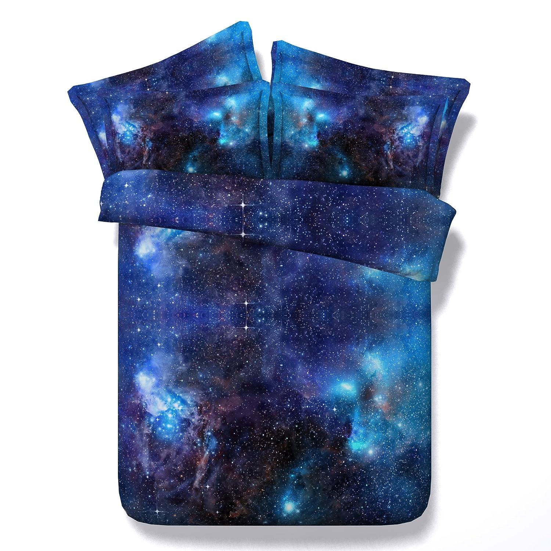 3D Juego de Fundas de Edred/ón DOTBUY Juego de Cama 3 Piezas de Microfibra Funda N/órdica Cremallera y Funda de Almohada Cielo Estrellado Galaxia
