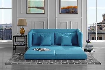 Merveilleux Modern Soft Linen Fabric Modular / Convertible Sleeper Sofa (Blue)