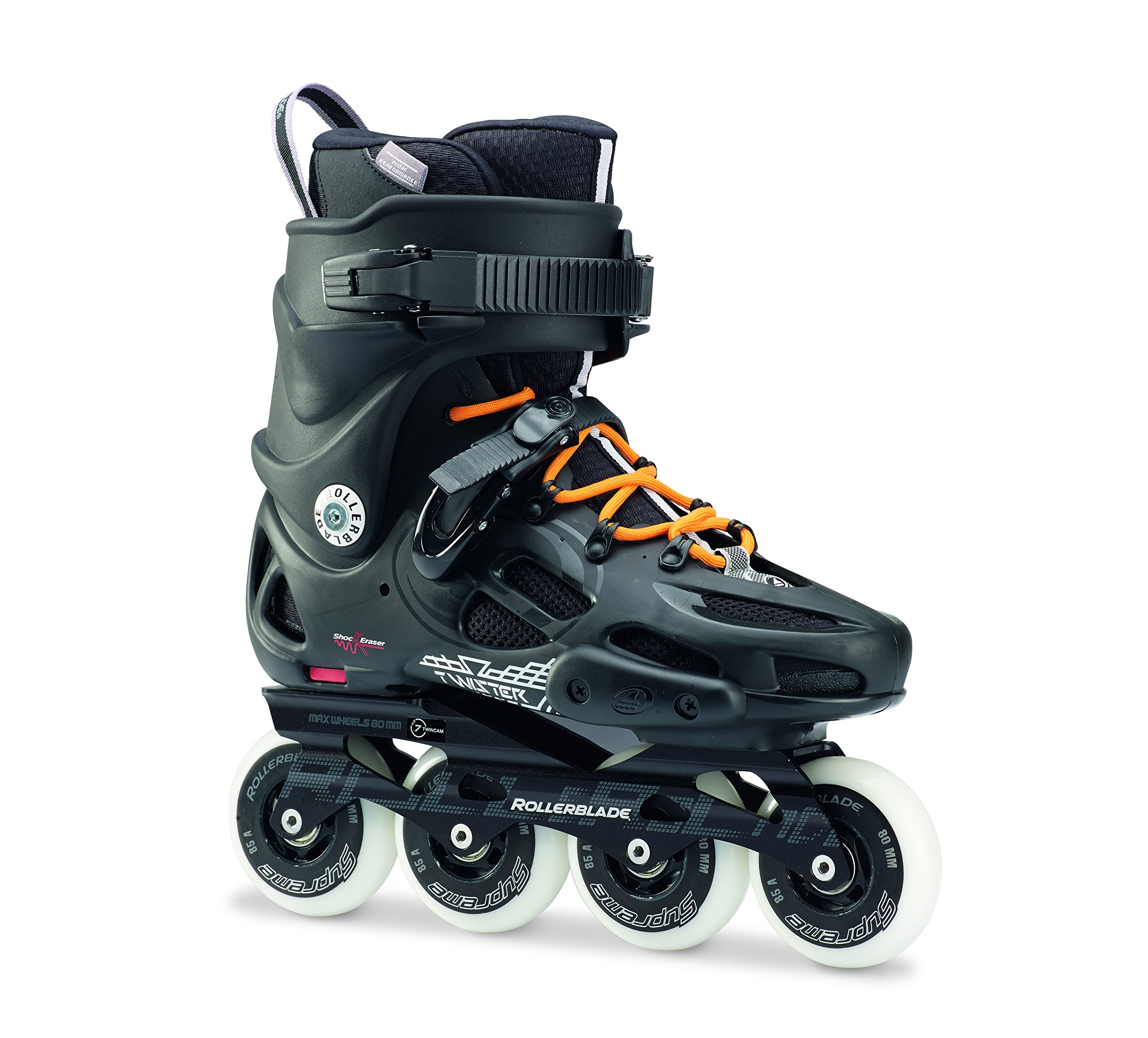 Rollerblade Twister 80 Twincam ILQ 7 Plus Bearings Inline Skates, Black/Urban Orange, US Men's 10.5 by Rollerblade