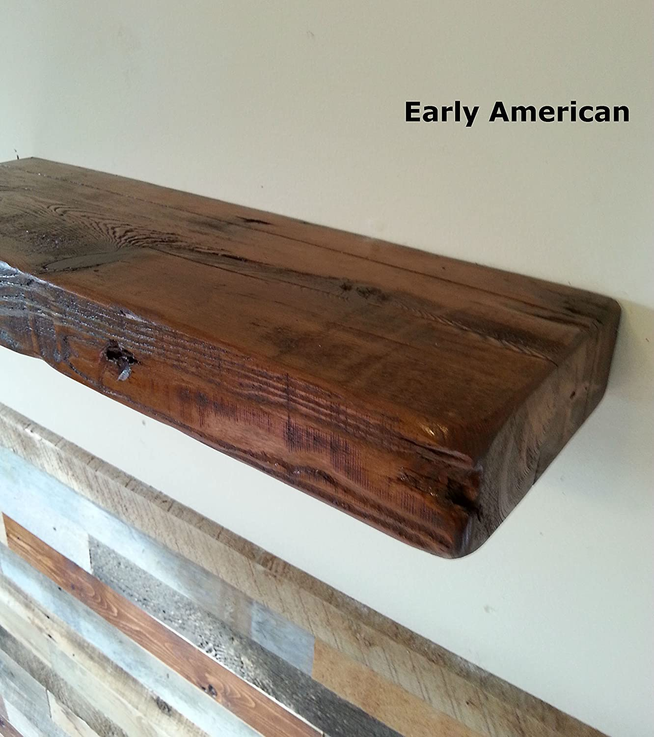 Amazon com reclaimed barn wood floating shelf 24 x 8 x 3 1800s barn wood with nail holes and saw mill marks hand made in usa home kitchen