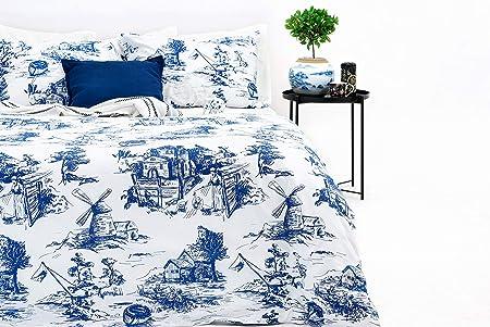 Marsala Home Juego de Funda Nórdica King 100% Algodón Azul Toile Juego de Cama de Diseño 3 Piezas con Fundas de Almohada Funda de Edredón Suave e Hipoalergénico (Azul Toile, Tamaño King):